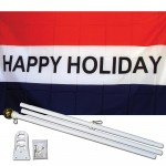 Happy Holiday 3' x 5' Polyester Flag, Pole and Mount