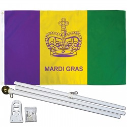 Mardi Gras Historical 3' x 5' Polyester Flag, Pole and Mount