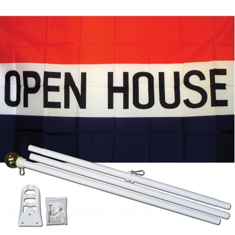 Open House 3' x 5' Polyester Flag, Pole and Mount