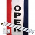 Open Vertical 3' x 5' Polyester Flag, Pole and Mount