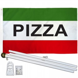 Pizza Green 3' x 5' Polyester Flag, Pole and Mount