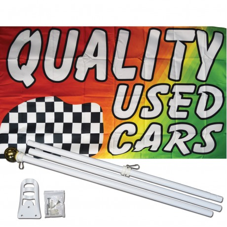 Quality Used Cars 3' x 5' Polyester Flag, Pole and Mount