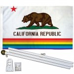 California Rainbow Pride 3 'x 5' Polyester Flag, Pole and Mount