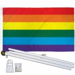 Rainbow Gay Pride 3' x 5' Polyester Flag, Pole and Mount