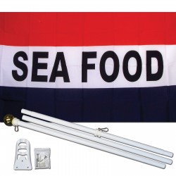 Seafood Patriotic 3' x 5' Polyester Flag, Pole and Mount