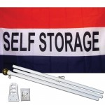 Self Storage Patriotic 3' x 5' Polyester Flag, Pole and Mount