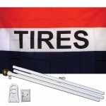 Tires 3' x 5' Polyester Flag, Pole and Mount