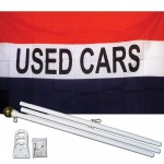 Used Cars Patriotic 3' x 5' Polyester Flag, Pole and Mount