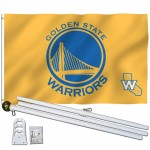Golden State Warriors 3' x 5' Polyester Flag, Pole and Mount
