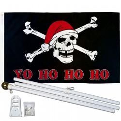Yo Ho Ho Ho Santa Pirate 3'x 5' Polyester Flag, Pole and Mount