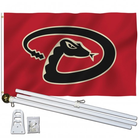 Arizona Diamondbacks 3' x 5' Polyester Flag, Pole and Mount