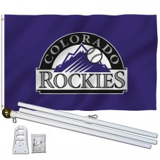 Colorado Rockies 3' x 5' Polyester Flag, Pole and Mount