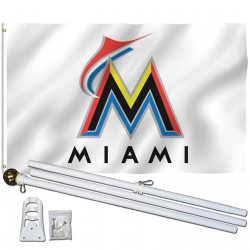 Miami Florida Marlins 3' x 5' Polyester Flag, Pole and Mount