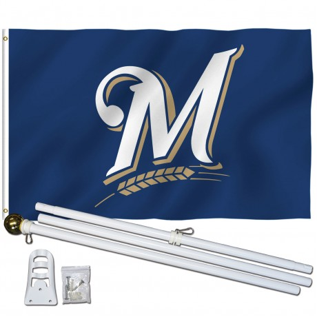 Milwaukee Brewers 3' x 5' Polyester Flag, Pole and Mount