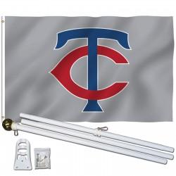 Minnesota Twins 3' x 5' Polyester Flag, Pole and Mount