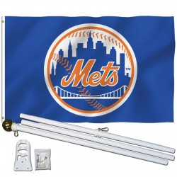 New York Mets 3' x 5' Polyester Flag, Pole and Mount