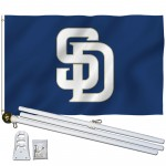 San Diego Padres 3' x 5' Polyester Flag, Pole and Mount