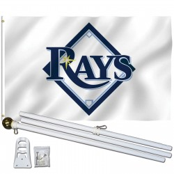 Tampa Bay Rays 3' x 5' Polyester Flag, Pole and Mount