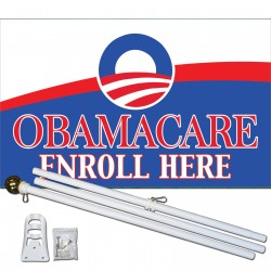 Obamacare Enroll Here 3' x 5' Polyester Flag, Pole and Mount