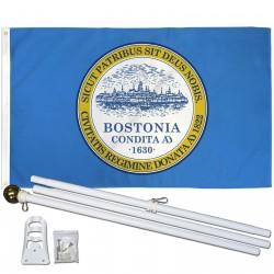 Boston City Bostonia 3' x 5' Polyester Flag, Pole and Mount