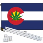Colorado State Marijuana 3' x 5' Polyester Flag, Pole and Mount
