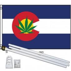 Colorado State Marijuana 3' x 5' Polyester Flag, Pole and Mount