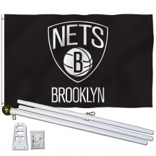 Brooklyn Nets 3' x 5' Polyester Flag, Pole and Mount