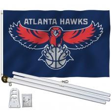 Atlanta Hawks 3' x 5' Polyester Flag, Pole and Mount