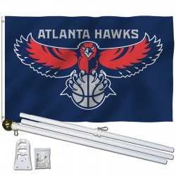 Atlanta Hawks 3' x 5' Polyester Flag, Pole and Mount