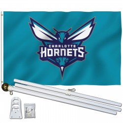 Charlotte Hornets 3' x 5' Polyester Flag, Pole and Mount