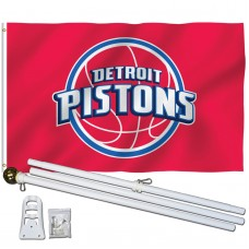 Detroit Pistons 3' x 5' Polyester Flag, Pole and Mount