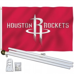 Houston Rockets 3' x 5' Polyester Flag, Pole and Mount