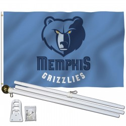 Memphis Grizzlies 3' x 5' Polyester Flag, Pole and Mount