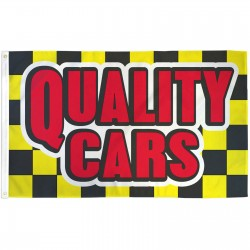 Quality Cars Yellow Checkered 3' x 5' Polyester Flag