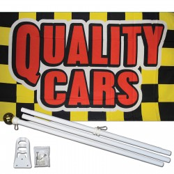 Quality Cars Yellow Checkered 3' x 5' Polyester Flag, Pole and Mount