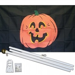 Pumpkin Black 3' x 5' Polyester Flag, Pole and Mount