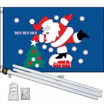 Santa Ho Ho Ho 3' x 5' Polyester Flag, Pole and Mount