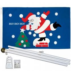 Santa Ho Ho Ho 3' x 5' Polyester Flag, Pole and Mount