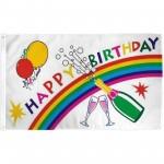 Happy Birthday Rainbow 3' x 5' Polyester Flag