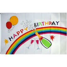 Happy Birthday Rainbow 3' x 5' Polyester Flag