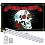 Dia De Los Muertos Sugar Skull 3' x 5' Polyester Flag, Pole and Mount