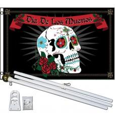 Dia De Los Muertos Sugar Skull 3' x 5' Polyester Flag, Pole and Mount