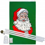 Santa Green Vertical 3' x 5' Polyester Flag, Pole and Mount