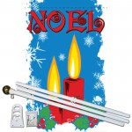 Noel Candles 3' x 5' Polyester Flag, Pole and Mount