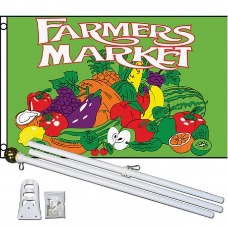 Farmers Market Green 3' x 5' Polyester Flag, Pole And Mount