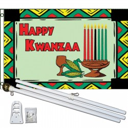 Happy Kwanzaa 3' x 5' Polyester Flag, Pole and Mount