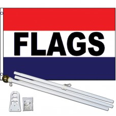 Flags Patriotic 3' x 5' Polyester Flag, Pole and Mount