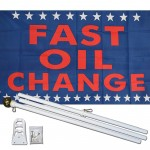 Fast Oil Change 3' x 5' Polyester Flag, Pole And Mount