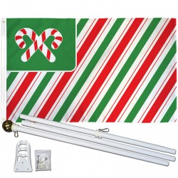Christmas USA Candy Canes 3' x 5' Polyester Flag, Pole and Mount