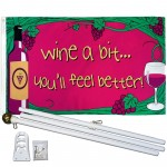 Wine A Bit 3' x 5' Polyester Flag, Pole and Mount